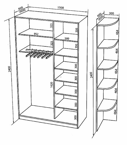 Шкафы-купе 2-х дверные, ширина 1500.