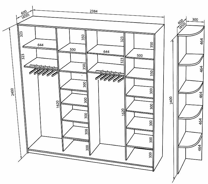 Шкаф купе в прихожую и схемы