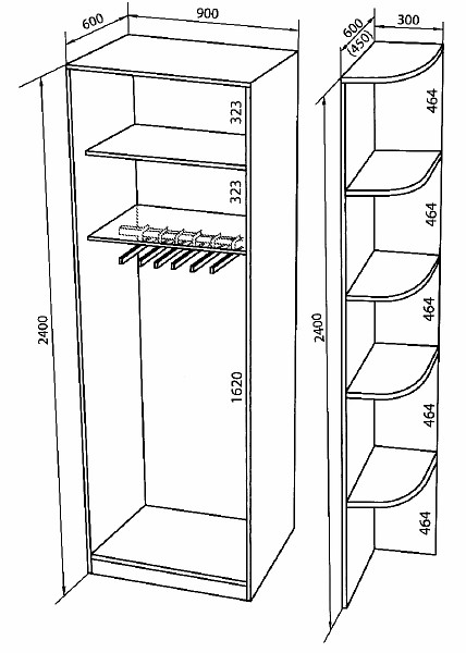 Шкафы-купе 2-х дверные, ширина 900.